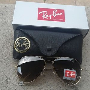Brand New Brown Granite RayBan Aviators 62mm